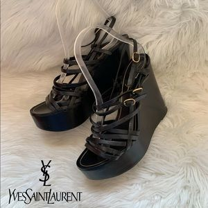 YSL Strappy Caged Wooden Leather Wedges